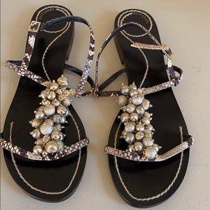 Kate Spade Kizzie Gold beaded sandals - rare
